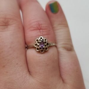Sterling Silver Amethyst ring dainty flower
